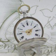 Relojes de bolsillo: DE PLATA- BONITO RELOJ DE BOLSILLO-3 TAPAS-CIRCA 1850-1870-FUNCIONANDO. Lote 289687598