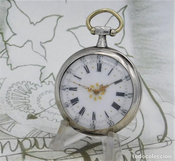 Relojes de bolsillo: DE PLATA- BONITO RELOJ DE BOLSILLO-3 TAPAS-CIRCA 1850-1870-FUNCIONANDO - Foto 2 - 289687598