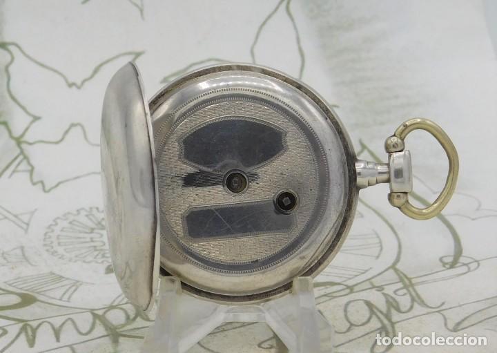 Relojes de bolsillo: DE PLATA- BONITO RELOJ DE BOLSILLO-3 TAPAS-CIRCA 1850-1870-FUNCIONANDO - Foto 4 - 289687598