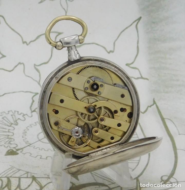 Relojes de bolsillo: DE PLATA- BONITO RELOJ DE BOLSILLO-3 TAPAS-CIRCA 1850-1870-FUNCIONANDO - Foto 6 - 289687598
