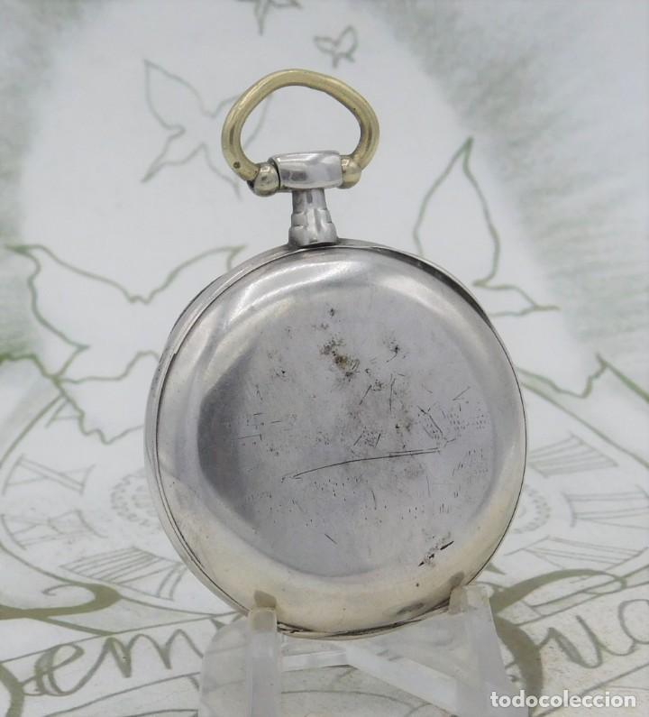 Relojes de bolsillo: DE PLATA- BONITO RELOJ DE BOLSILLO-3 TAPAS-CIRCA 1850-1870-FUNCIONANDO - Foto 7 - 289687598