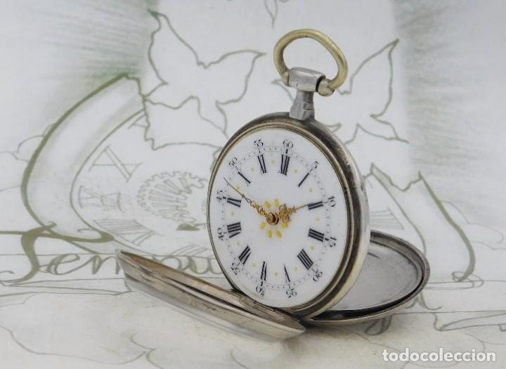 Relojes de bolsillo: DE PLATA- BONITO RELOJ DE BOLSILLO-3 TAPAS-CIRCA 1850-1870-FUNCIONANDO - Foto 8 - 289687598