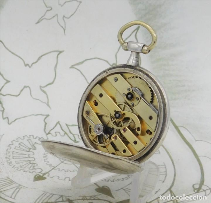 Relojes de bolsillo: DE PLATA- BONITO RELOJ DE BOLSILLO-3 TAPAS-CIRCA 1850-1870-FUNCIONANDO - Foto 9 - 289687598