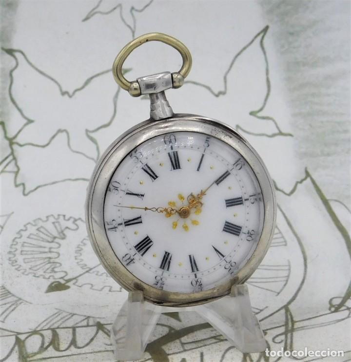 Relojes de bolsillo: DE PLATA- BONITO RELOJ DE BOLSILLO-3 TAPAS-CIRCA 1850-1870-FUNCIONANDO - Foto 10 - 289687598
