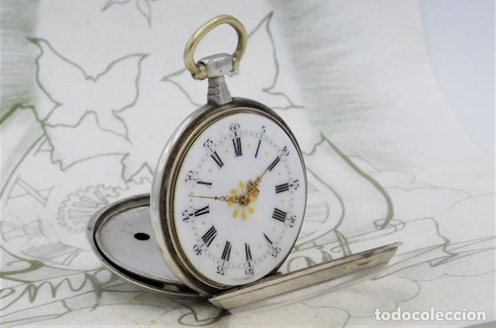 Relojes de bolsillo: DE PLATA- BONITO RELOJ DE BOLSILLO-3 TAPAS-CIRCA 1850-1870-FUNCIONANDO - Foto 11 - 289687598