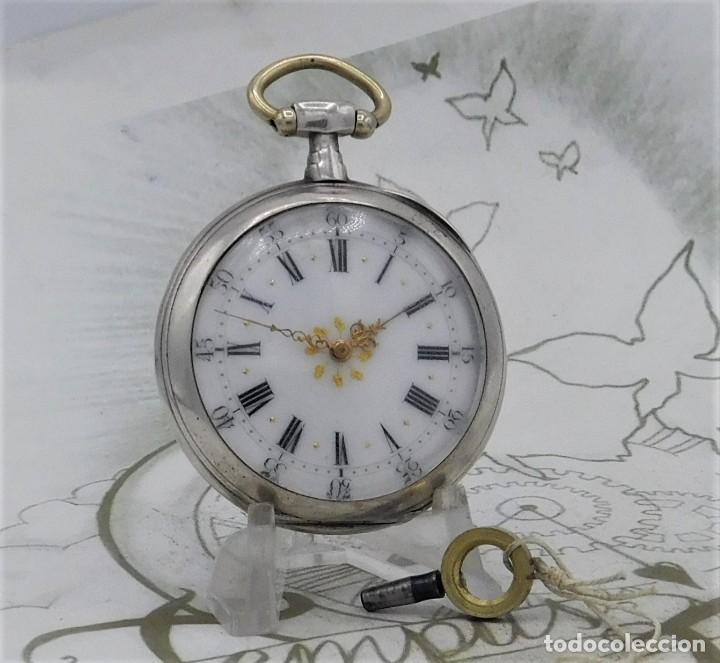 Relojes de bolsillo: DE PLATA- BONITO RELOJ DE BOLSILLO-3 TAPAS-CIRCA 1850-1870-FUNCIONANDO - Foto 15 - 289687598