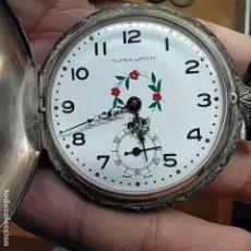 Relojes de bolsillo: ANTIGUO RELOJ DE BOLSILLO DE PLATA SUPER WATCH - SWISS MADE - NO FUNCIONA DIAMETRO DE 48 MM. Lote 292162883