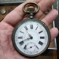 Relojes de bolsillo: ANTIGUO RELOJ DE BOLSILLO REMONTOIR 15 RUBIS PLATA? SWISS-GENEVE-MADE - FUNCIONA? 62MM. Lote 292169138