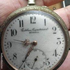 Relojes de bolsillo: RELOJ DE BOLSILLO EN PLATA? -MARCA-ESPAÑA? - ESTEBAN CASADEMUNT? RIPOLL - FUNCIONA? - 50MM. Lote 292174378