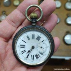 Relojes de bolsillo: ANTIGUO RELOJ DE BOLSILLO REMONTOIR RUBIS PLATA? SWISS-GENEVE-MADE - NO FUNCIONA - 53MM. Lote 292234748
