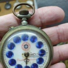 Relojes de bolsillo: ANTIGUO RELOJ DE BOLSILLO - MARCA SILGOR WATCH SWISS - NÚMEROS EN ESMALTE AZUL - NO FUNCIONA - 52 MM. Lote 292244468