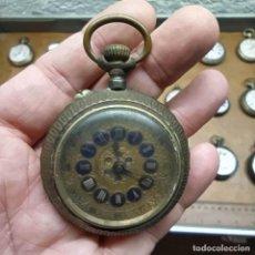 Relojes de bolsillo: RELOJ DE BOLSILLO - MARCA? CON LOS NÚMEROS EN ESMALTE AZUL - NO FUNCIONA. Lote 292247063