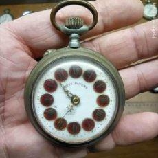 Relojes de bolsillo: RELOJ DE BOLSILLO - MARCA CONTY PATENT CON LOS NÚMEROS EN ESMALTE ROJO - NO FUNCIONA - 54MM. Lote 292249003