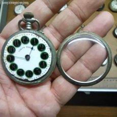 Relojes de bolsillo: RELOJ DE BOLSILLO - MARCA CONTY PATENT CON LOS NÚMEROS EN ESMALTE VERDE- NO FUNCIONA / ROTO - 45MM. Lote 292258953