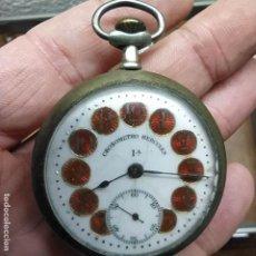 Relojes de bolsillo: RELOJ DE BOLSILLO - MARCA CHRONOMETRO HERCULES - CON LOS NÚMEROS EN ESMALTE ROJO - NO FUNCIONA -50MM. Lote 292263463