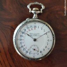 Orologi da taschino: RELOJ DE BOLSILLO 24 HORAS DE PLATA LABRADA CANTOS LABRADOS MUY DETALLADO BUEN ESTADO FUNCIONA MIRA. Lote 292567873