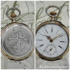 Relojes de bolsillo: MUY BONITO RELOJ DE BOLSILLO-DE PLATA BICOLOR-3 TAPAS-DE MONJA-CIRCA 1880-1900-FUNCIONANDO. Lote 295855308