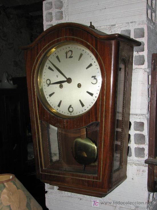 Antiguo reloj de pared de madera de nogal 50x3 comprar - Relojes rusticos de pared ...