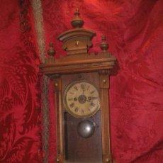 Relojes de pared: RELOJ DESPERTADOR PARED, EPOCA ALFONSINA FF.SG.XIX. 67 CM. X 25 CM. X 14 CM. FUNCIONA. CAJA MADERA. Lote 23795358