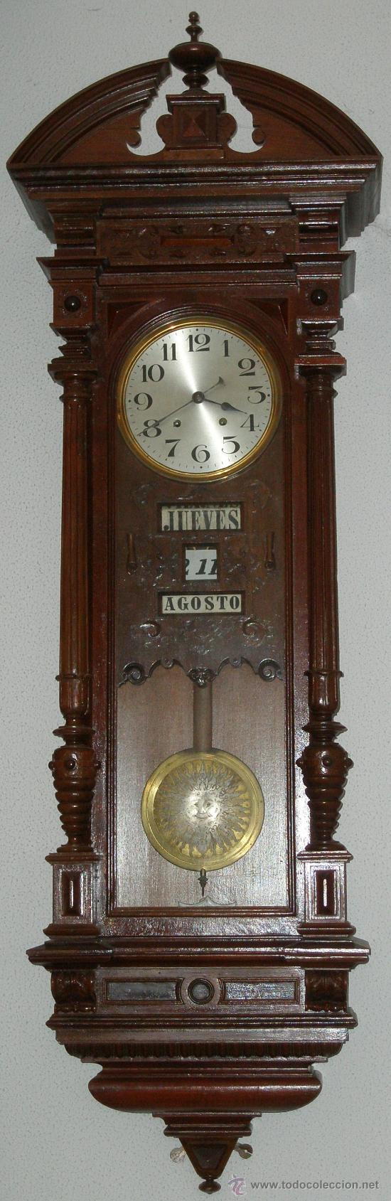 Raro original antiguo reloj pared calendiario comprar for Reloj de pared antiguo