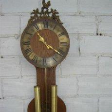 Relojes de pared: RELOJ DE PARED CON FIGURA DE GALLO BRONCE. Lote 10580943
