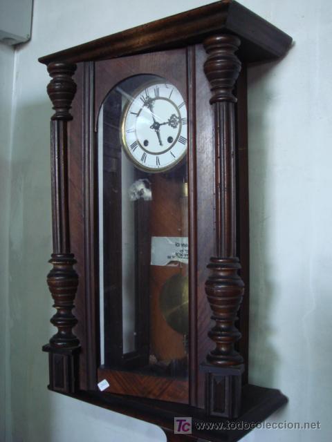 Reloj antiguo de pared con caja de madera comprar - Relojes pared antiguos ...