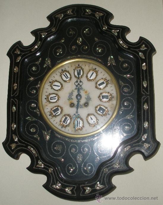 PRECIOSO IMPECABLE RELOJ OJO BUEY PARIS - ESFERA ALABASTRO CAJA MUY DECORADA NACAR - (Relojes - Pared Carga Manual)