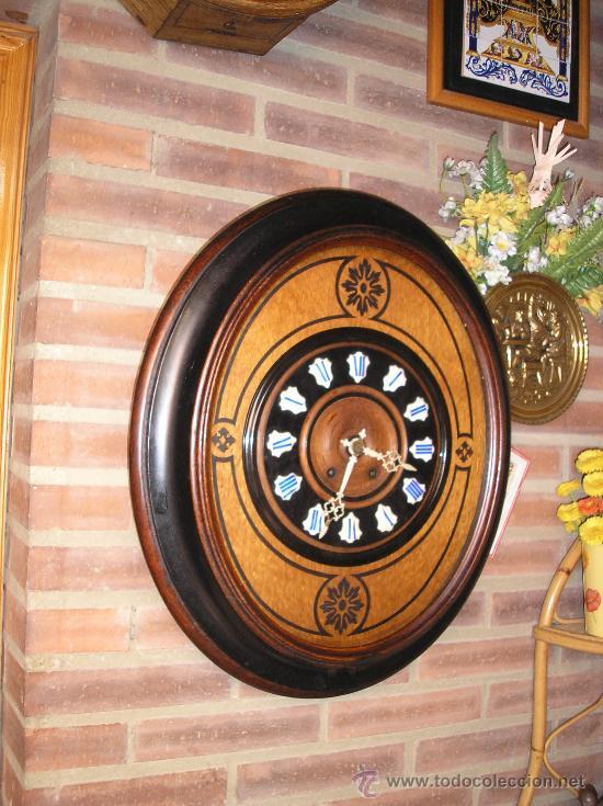 Relojes de pared: !OJO BUEY MARQUETERIA Francia- AÑO 1890--EL MEJOR PRECIO - Foto 2 - 26038415
