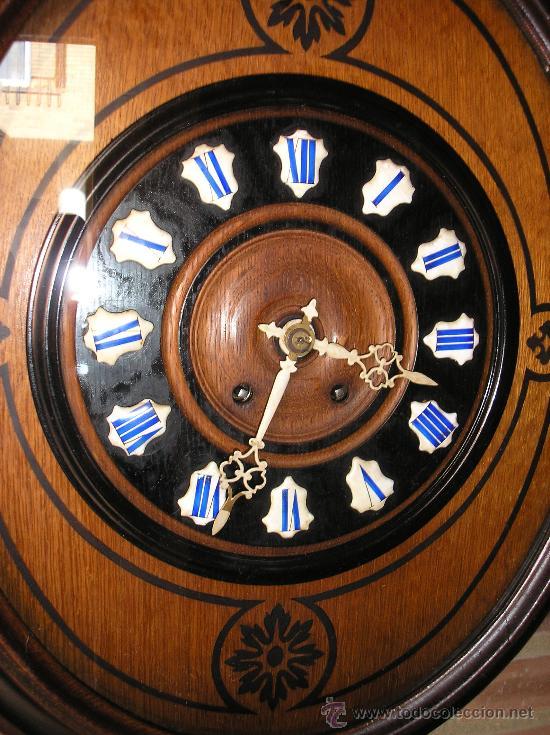 Relojes de pared: !OJO BUEY MARQUETERIA Francia- AÑO 1890--EL MEJOR PRECIO - Foto 3 - 26038415