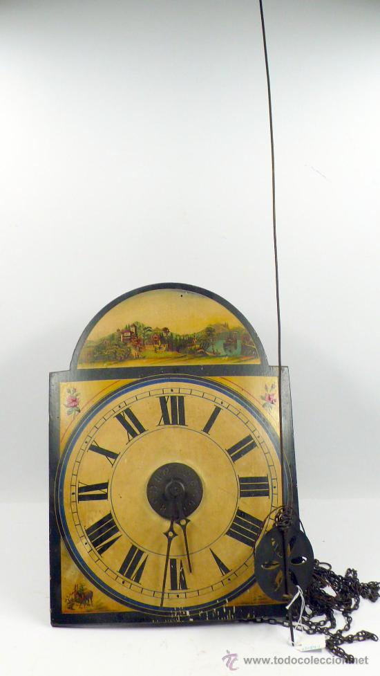 RELOJ TIPO RATERA DE UNA CAMPANA CON ESFERA DE MADERA Y PÉNDULO DE METAL, . (Relojes - Pared Carga Manual)