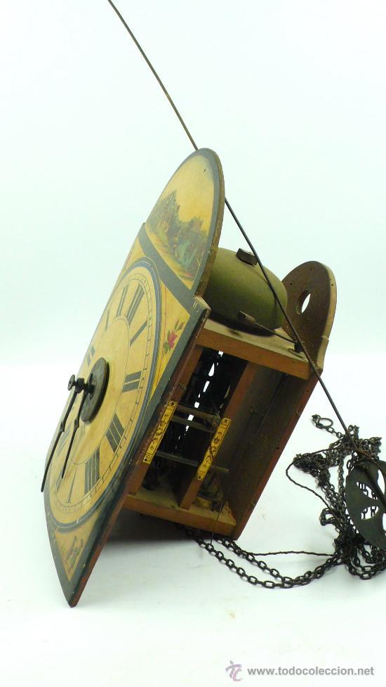 Relojes de pared: Reloj tipo ratera de una campana con esfera de madera y péndulo de metal, . - Foto 6 - 28372098