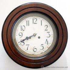 Relojes de pared: RELOJ OJO DE BUEY - FRENTE DE CAOBA - PÉNDULO Y LLAVE - S. XIX. Lote 122342571