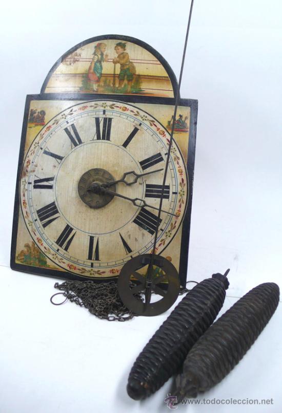 RELOJ TIPO RATERA S.XIX DE UNA CAMPANA, CON PESAS Y PÉNDULO. . (Relojes - Pared Carga Manual)