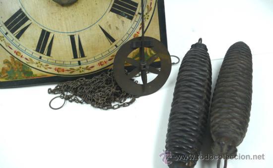 Relojes de pared: Reloj tipo ratera s.XIX de una campana, con pesas y péndulo. . - Foto 8 - 30770095