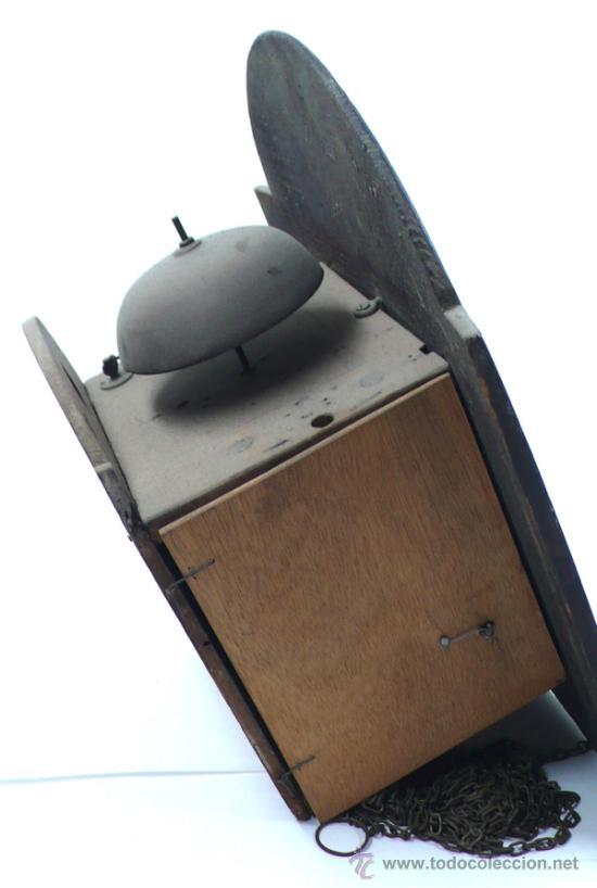 Relojes de pared: Reloj tipo ratera s.XIX de una campana, con pesas y péndulo. . - Foto 6 - 30770095