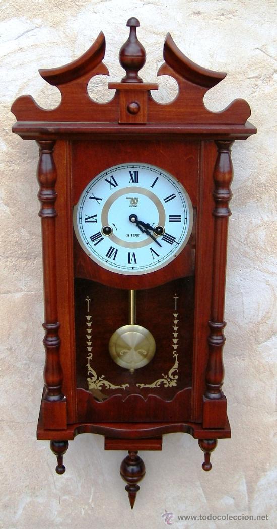 Reloj de pared madera antiguo funcionando con s comprar - Relojes para decorar paredes ...