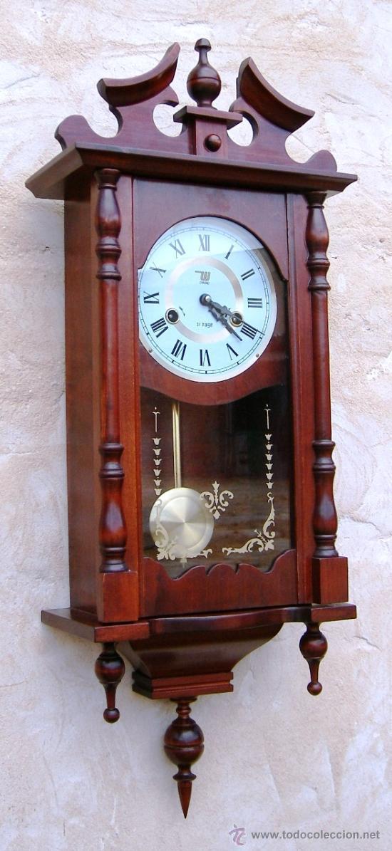 Reloj de pared madera antiguo funcionando con s comprar - Comprar mecanismo reloj pared ...