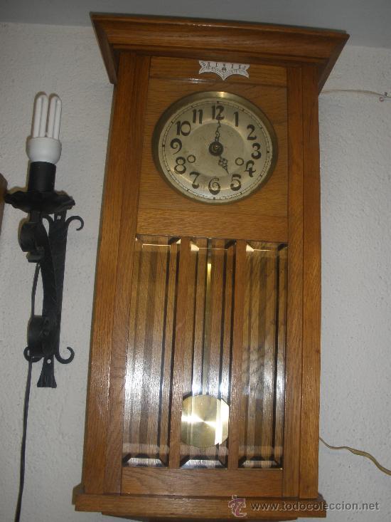 Antiguo reloj de pared de madera y cristales bi comprar - Mecanismo reloj pared ...