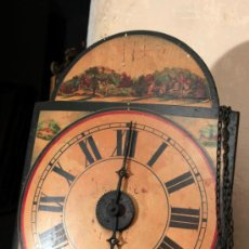 Relojes de pared: RELOJ TIPO RATERA DE UNA CAMPANA CON PESAS, S.XIX.. Lote 35248615