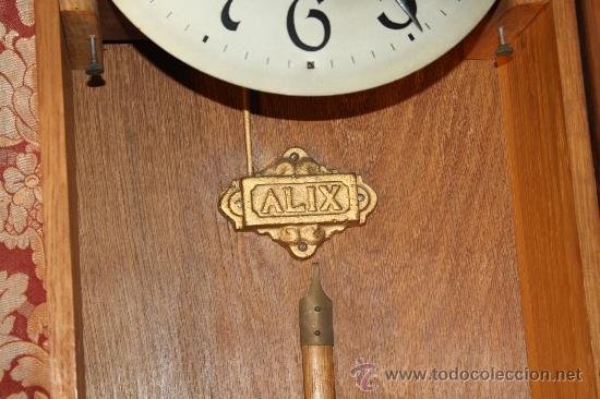 Relojes de pared: RELOJ DE PARED DE CARGA MANUAL AÑOS 20. MARCA ALIX. CON LLAVE Y PENDULO. - Foto 5 - 37346426