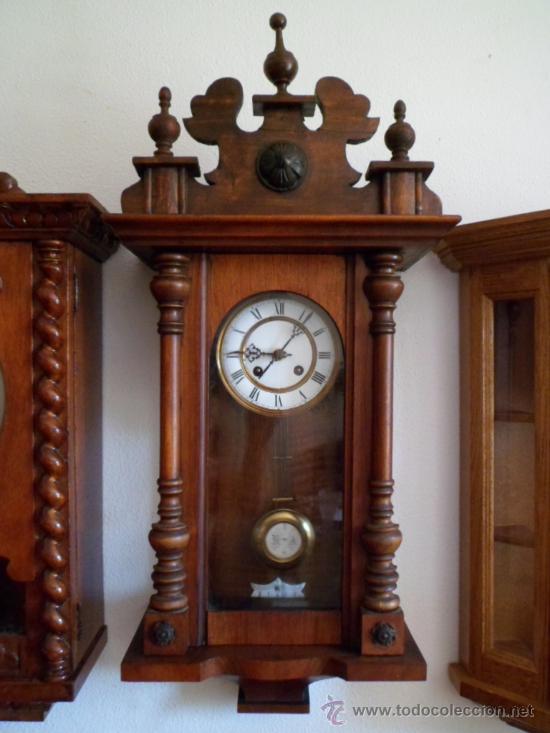 Reloj antiguo alem n de pared mec nico cuerda comprar for Relojes de pared antiguos de pendulo