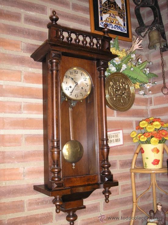 ANTIGUO RELOJ HENRI II NOGAL MAQUINARIA JUNGHANS DE ALEMANIA- AÑO 1890-10 (Relojes - Pared Carga Manual)