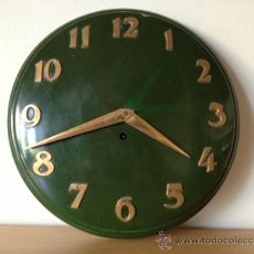 Relojes de pared: RELOJ PARED DE CUERDA MANUAL - VERDE. Lote 38607211