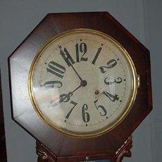 Relojes de pared: RELOJ WATERBURY - MADERA DE CAOBA - RELOJ AMERICANO - FUNCIONA - FINALES SIGLO XIX. Lote 41636767