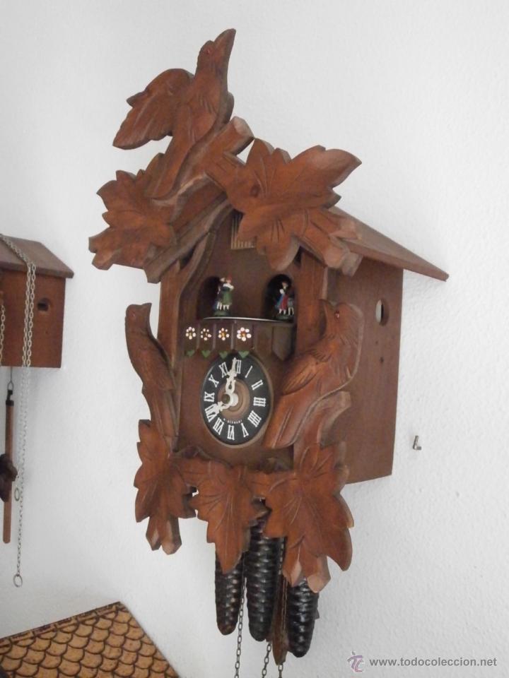 Relojes de pared: Reloj antiguo pared alemán cucu péndulo 3 pesas con campanadas canto cucu y melodía músical con Vals - Foto 3 - 246475070