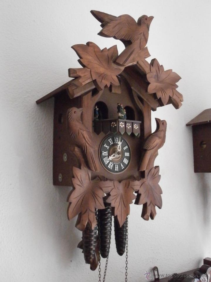 Relojes de pared: Reloj antiguo pared alemán cucu péndulo 3 pesas con campanadas canto cucu y melodía músical con Vals - Foto 4 - 246475070