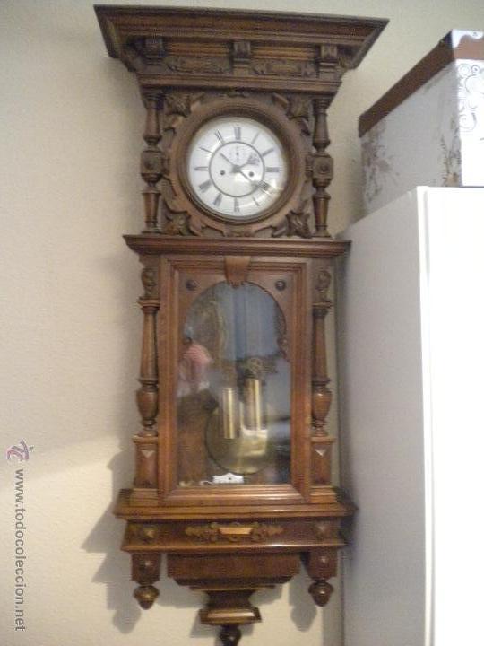 RELOJ ALFOSINO DE PARED,RESTAURADO, ALTURA120 ANCHO 52 CM (Relojes - Pared Carga Manual)
