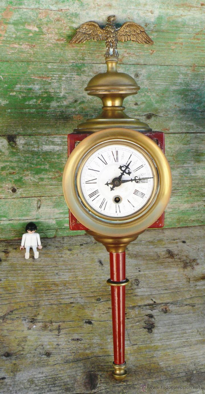 RELOJ ANTIGUO ESTILO IMPERIO CORONADO AGUILA BRONCE TIPO CARRO O TREN (Relojes - Pared Carga Manual)