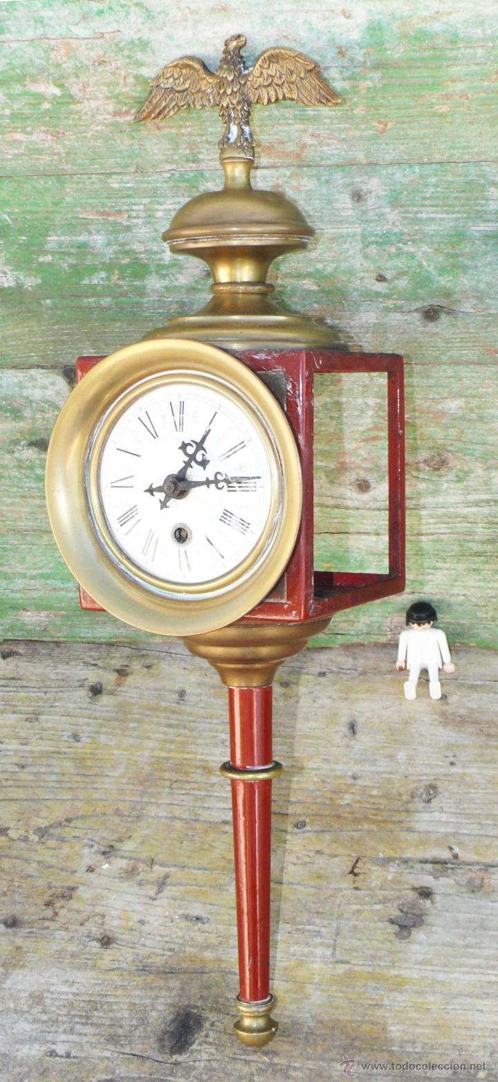 Relojes de pared: RELOJ ANTIGUO ESTILO IMPERIO CORONADO AGUILA BRONCE TIPO CARRO O TREN - Foto 2 - 42997045