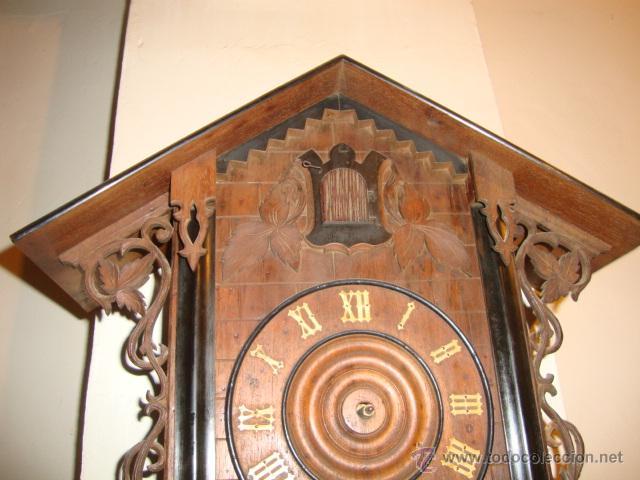 Relojes de pared: EXCELENTE RELOJ CUCU EN MADERA DE NOGAL, ORIGINAL FUNCIONA PERFECTO. - Foto 4 - 43599583
